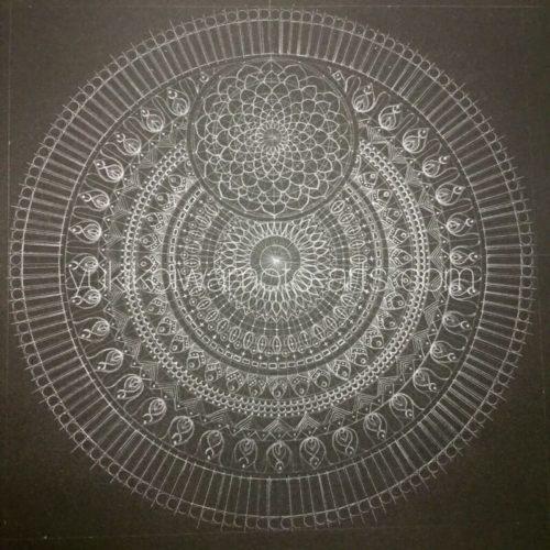 曼荼羅アート「不死鳥」【鉛筆画】