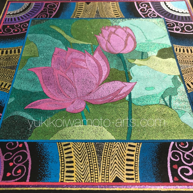 mandala art pink lotus different angle