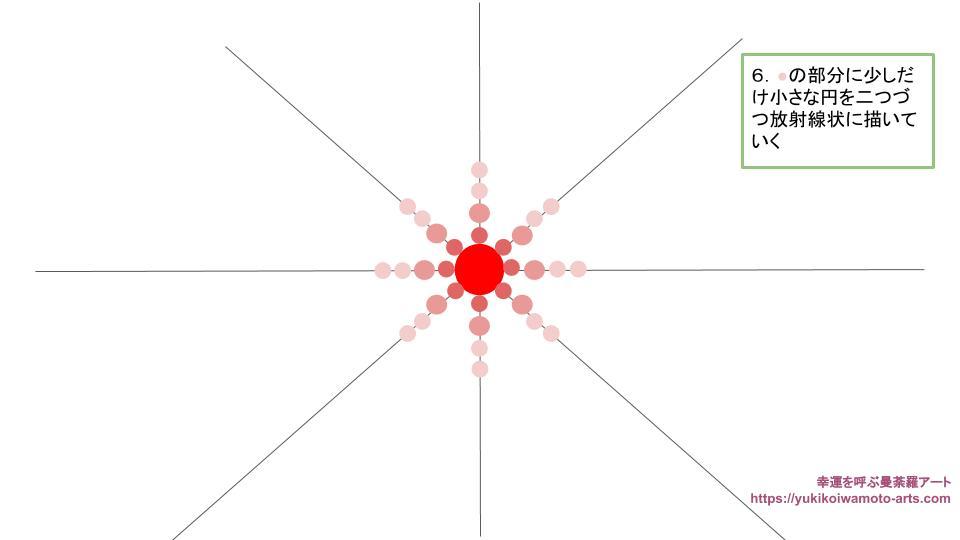 radial dot mandala drawing process 4