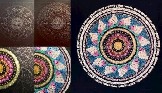 幸運を呼ぶ曼荼羅アート作品「救済」作画工程