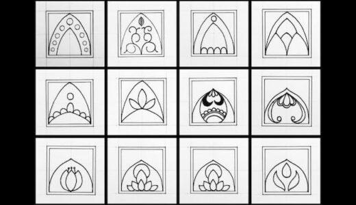 初心者向けフリーハンドで簡単に描ける模様12点とモノクロ曼荼羅アートの描き方【100均の紙とペンでOK】